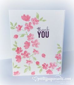Stampin' Up! ... hand crafted one layer card ... Painted Petals in pink ... lovely ...