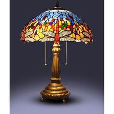 Lámpara de mesa, estilo Tiffany, diseño de libélula, roja | Overstock.com Shopping - The Best Deals on Tiffany Style Lighting