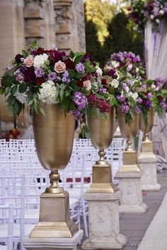 Purple, mauve and aubergine, cream wedding ceremony flowers including dahlias, garden roses and foliage, at Casa Loma by Rachel A. Clingen of Toronto. Ceremony Decorations, Flower Decorations, Wedding Centerpieces, Purple Wedding, Floral Wedding, Wedding Colors, Cream Wedding, Aisle Flowers, Wedding Ceremony Flowers