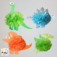 Having a dinosaur themed event? These prehistoric pompoms are pure dino-mite! Designed to hang above your party table, they are perfect for a birthday, baby shower, christening, baptism and more! This listing is for one dinosaur. Choose the type in the drop down menu. - The Brontosaurus has a green pompom with green body, - The Stegosaurus has a light blue pompom and light blue body with grey spikes, - The Triceratops has an orange pompom and orange body with grey horns, - The Pterodactyl…