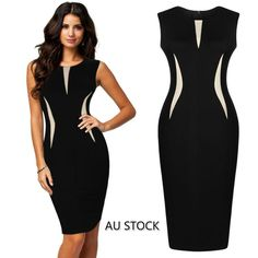 New Women Summer Bodycon Pencil Cocktail Evening Party Dress just 10.99