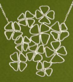 'Hydrangea Necklace' handmade in sterling silver by Garden of Silver.