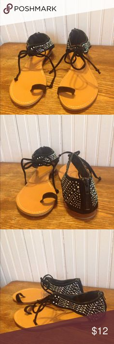 Bamboo black sandals, size 8 Bamboo black sandals, size 8, leather insole Bamboo Shoes