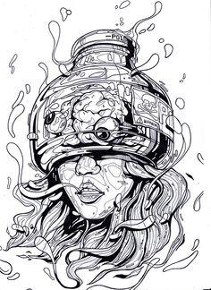 Poison Girl by Jong hun Ha Daegu, Korea, Republic of Cool Art Drawings, Art Drawings Sketches, Tattoo Sketches, Arte Cyberpunk, Psy Art, Arte Sketchbook, Dope Art, Psychedelic Art, Surreal Art