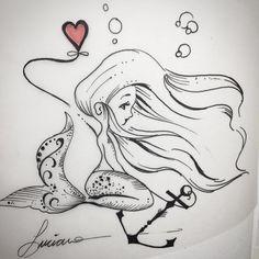 Arte criada por Luciano Tatuador.  Desenho de pequena sereia.  #art #arte #tattoo #tattoo2me #desenho #tatuagem