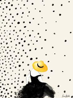 Polka Rain II Art Print by Karen Hofstetter www.karenhofstetter.com