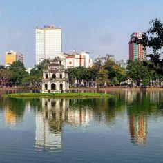 Turtle Tower in Hoàn Kiếm Lake Hanoi  Vietnam. #travel #travelbloggers #hanoi #vietnam