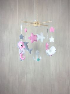Baby mobile - nautrical mobile - ocean mobile - seahorse mobile - octopus - whale - dolphin - baby crib mobiles - pink mobile - star mobile