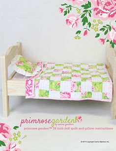 """Sweet little free pattern for an 18"""" doll quilt and pillow. I love this new line of fabric called Primrose Garden by Carina Gardner."""