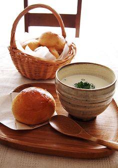 牛乳パンと豆腐のポタージュ♪