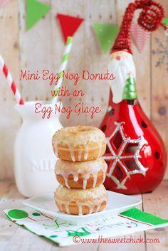 Mini Cinnamon Egg Nog Donuts with an Egg Nog Glaze