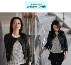 Elementary Ep. 122: Joan Watson's (Lucy Liu) cropped leather moto jacket | Details on the blog: popdetour.tumblr.com