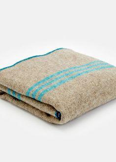Striped Wool Blanket - Graphite and Aqua #Rodales #Organic #Wool
