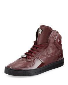 Versace Shoes, Versace Men, Vintage Shoes Men, Mens Fashion Shoes, Men's Fashion, Men Store, Leather High Tops, Casual Boots, Vogue
