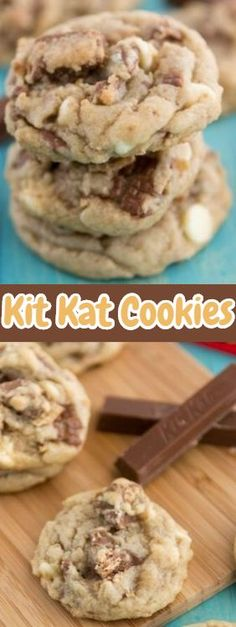 Kit Kat Cookies ★★★★★ 62 Kit Kat Cookies - If you like Kit Kats, you'll love these! The beauty of this cookie recipe is that you can add whatever you want to it. Candy, different flavors of chocolate chips, toffee, whatever you want. Coconut Hot Chocolate, Homemade Chocolate, Chocolate Chips, Cookie Desserts, Cookie Recipes, Dessert Recipes, Kit Kat Recipes, Kit Kat Cookies, Chip Cookies