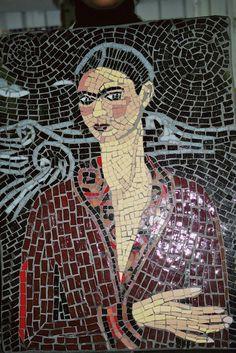 Mosaic of Frida Kahlo in red |www.mandelaparkmosaics.com
