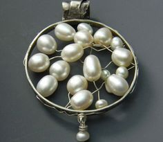 Sterling Wired Pearl Pendant