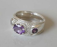 Purple Amethyst gemstone Sterling Silver ring  by ShambhalaJewelry, $125.00