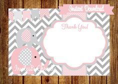 Instant Download Pink and Gray Elephant Thank by InvitesByChristie, $6.00