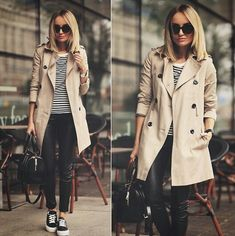 trench coat outfit - trend alert: classic trench coat is increasingly popping on solo tupin . Trench Coat Outfit, Beige Trench Coat, Classic Trench Coat, Coat Dress, Mode Outfits, Casual Outfits, Fashion Outfits, Womens Fashion, Fashion Coat