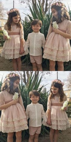 Simple Prom Dress, A-Line Round Neck Short Flower Girl Dress with Lace Saloni Dresses Inexpensive Wedding Dresses, Affordable Bridesmaid Dresses, Wedding Party Dresses, Baby Bridesmaid Dresses, Bridesmaids, Little Girl Dresses, Flower Girl Dresses, Lace Flower Girls, Lace Flowers