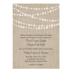Under Twinkle Lights on Burlap Wedding Invitation potential invitation!