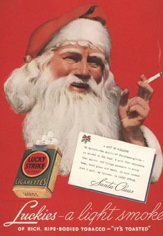 Santa Claus smokes Lucky Strike
