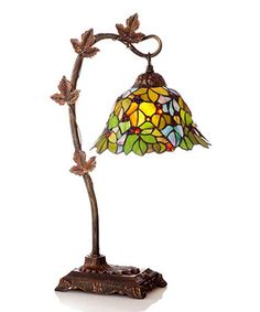 Loving this Green Floral Leaf Stained Glass Desk Lamp on #zulily! #zulilyfinds
