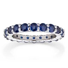 Blue+Sapphire+Eternity+Wedding+Band+in+14K+White+Gold  -  unknown carat size shared prong set $1,275.15 sale