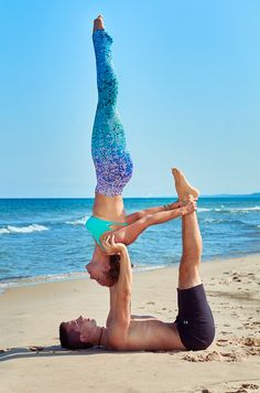 Beach Acro Yoga Never gets old!   Uniquely Yoga Duo   Yoga Boutique   Mermaid Yoga Pants