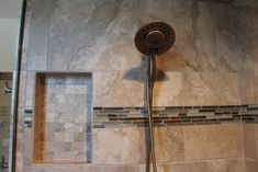 Tiled Shower: Montecelio, Beige, 18x18 and 2x2; Shower Accent: Bliss Glass Slate Linear Strip, Amber Tea