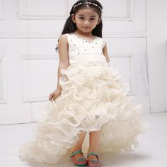 Girls Champagne Short Front Long Back Flower Girl Dress For Wedding Trailing Formal Party Vestidos Girls Clothes 2017 SKF154024