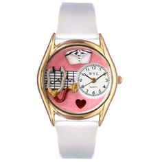 Nurse Red White Leather And Goldtone Watch - http://www.artistic-watches.com/2012/11/02/nurse-red-white-leather-and-goldtone-watch/