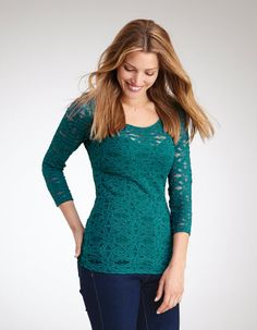 By Pepperberry - This stretchy geo lace top in teal comes with removable inner cami. Great for a night out or pair with jeans for a chic everyday look.