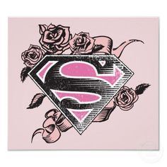 Supergirl Logo with Roses Posters from http://www.zazzle.com/supergirl+gifts