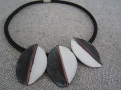 2015 African inspired black/white copper enamel choker