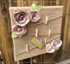 Upcycled Crafts Clothes Shabby Chic - Cork board Message board Note board Burlap shabby chic flowers Book page Sheet music. Flores Shabby Chic, Shabby Chic Flowers, Shabby Chic Crafts, Shabby Chic Homes, Shabby Chic Decor, Shabby Chic Office, Burlap Projects, Burlap Crafts, Diy And Crafts