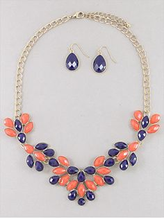 Navy, Coral and Gold Statement Necklace and Earring Set Necklace: 17-19 inches long Quantity: 1  $19.00 for set *Absolutely Beautiful!