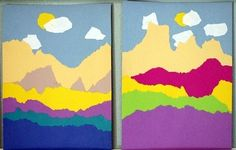 Create a torn paper sunset.