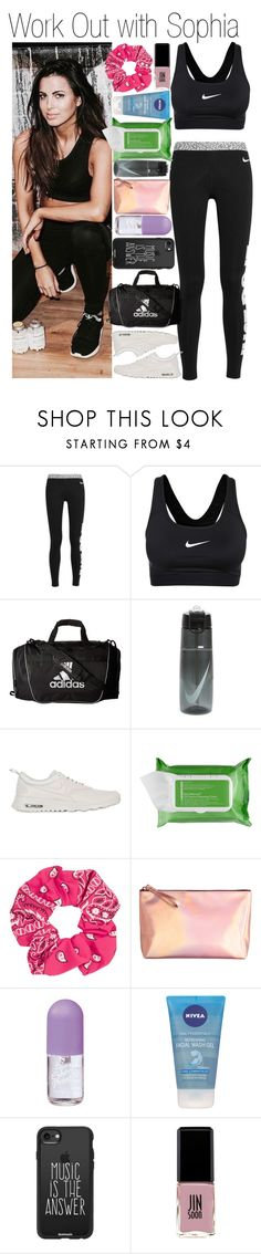 """• Work Out with Sophia"" by dianasf ❤ liked on Polyvore featuring NIKE, adidas, Ole Henriksen, Topshop, H&M, Nivea, Casetify, Jin Soon and sophiasmith"