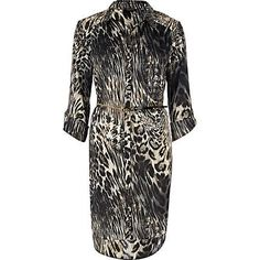 brown leopard print shirt dress - day dresses - dresses - women - River Island