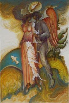 George Kordis - - Eros Flees Toward Paradise Modern Art, Contemporary Art, Oil Pastel Paintings, Greek Art, Canvas Paper, Sacred Art, Byzantine, Dark Art, Surrealism