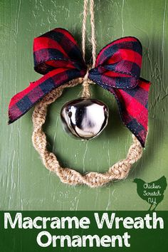 Macramé Wreath Ornament Decorate the tree with a darling Macrame Ornament Wreath decorated with a shiny bell and a pretty bow made from wired ribbon that coordinates with your holiday decorations Fabric Ornaments, Diy Christmas Ornaments, How To Make Ornaments, Christmas Crafts, Macrame Art, Macrame Projects, Macrame Knots, Welding Projects, Diy Christmas Mugs