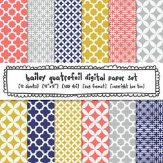 digital paper quatrefoil patterns, mustard yellow gray pink navy blue, modern photography backgrounds, mod preppy classic patterns  400. $5.00, via Etsy.