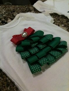 Ribbon Christmas Tree Craft | Ribbon Christmas Tree Onesie | Craft Ideas