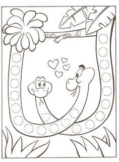 La Farandole - Bienvenue sur le site de l'association des assistantes maternelles agréées du secteur d'Altkirch Preschool Writing, Preschool Lessons, Safari Theme, Jungle Theme, Coloring For Kids, Coloring Pages, Kindergarden Art, Snake Crafts, Do A Dot