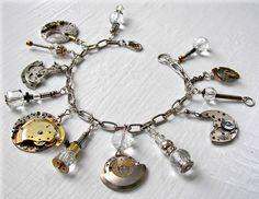 one of a kind Steampunk inspired bracelet using antique fusee pocket watch parts, wrist watch movement parts, jewelry cast off and findings.  unavailable; part of a private collection.
