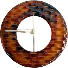 Huge Vintage Carved Bakelite Belt Buckle Tortoise Shell Swirls