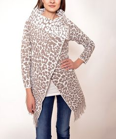 Love this Beige Leopard Fringe Cardigan on #zulily! #zulilyfinds