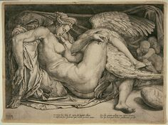 Leda and the Swan, ca.1540. Cornelis Bos. Engraving on laid paper